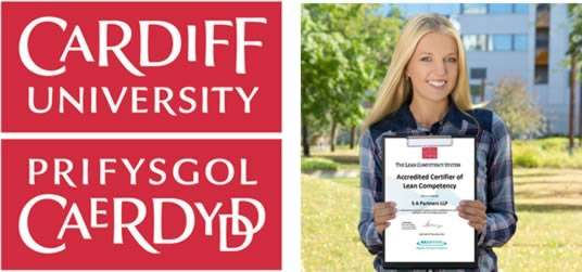 image of the Cardiff university logo and girl holding an Lean Competency Certificate with S A Partners on it